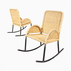 Children's Wicker Rocking Chairs, 1950s, Set of 2