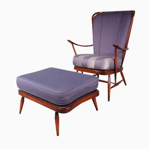 British Beech Easy Chair and Ottoman by Lucian Ercolani for Ercol, 1950s