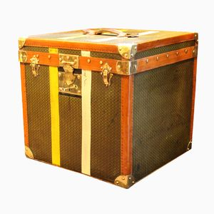 French Dark Green, Yellow and White Striped Canvas Hat Trunk, 1930s