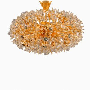 Large Gold-Plated Snowball Chandelier by Emil Stejnar for Rupert Nikoll, 1955