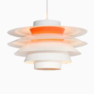 Vintage Verona Hängelampe in Weiß & Orange von Svend Middelboe für Nordisk Solar