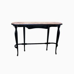 Italian Ebonized Wood & Marble Console Table, 1950s