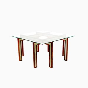Danish Rosewood, Aluminum and Glass Coffee Table, 1950s