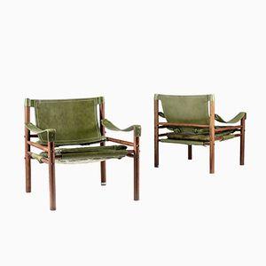 Swedische Sirocco Safari Stühle von Arne Norell, 1960er, 2er Set