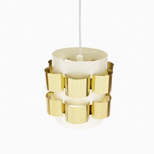 Danish Brass Pendant Lamp by Werner Schou for Coronell, 1960s