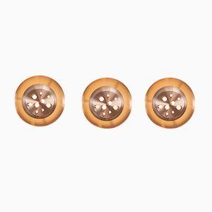 B-1243 Kupfer Wandlampen von Raak, 3er Set