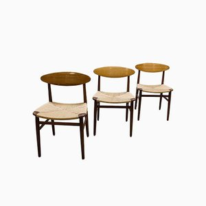 Danish Dining Chairs by Børge Mogensen for Soborg Mobler, Set of 3