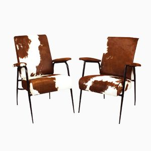 French Horseskin Armchairs by Pierre Guariche, 1950s, Set of 2