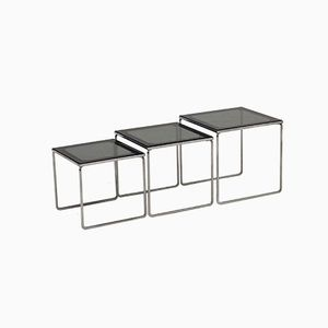 Mid-Century Chrome and Smoked Glass Nesting Tables, 1960s, Set of 3
