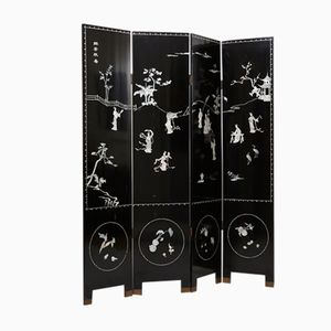 Chinese Hand-painted Folding Screen with Mother of Pearl