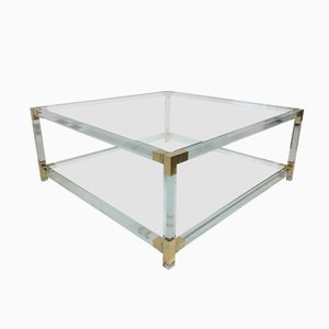 French Brass and Lucite Coffee Table, 1970s