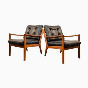Dänische Senator Teak & und Leder Lounge Armlehnstühle von Ole Wanscher für France & Søn, 1960er, 2er Set