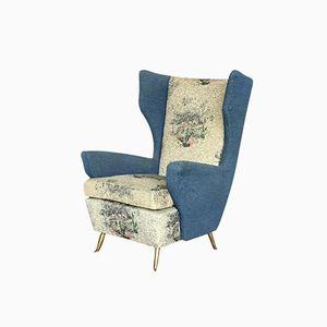 Italienischer Blauer Mid-Century Sessel