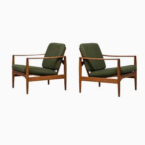 Danish Easy Chairs by Illum Wikkelsø for Niels Eilersen, 1950s, Set of 2