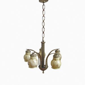 French Art Deco Lamp with Five Marbled Caps, 1930s