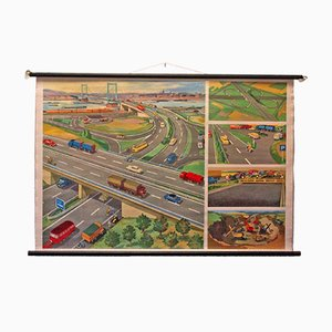 Mid-Century Autobahn Lehrtafel