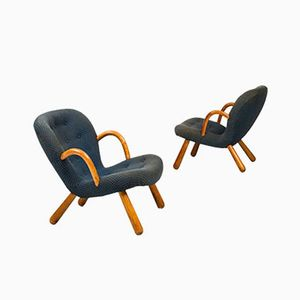Danish Clam Easy Chairs by Philip Arctander for Nordisk Stål & Møbel Central, 1944
