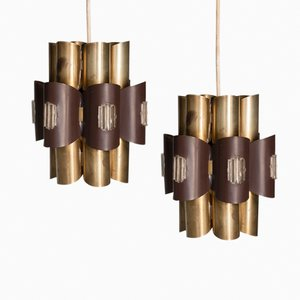 Danish Pendant Lights by Werner Schou for Coronell Electro A/S, 1960s, Set of 2