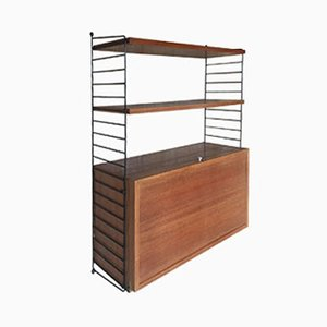 String Teak Unit with Bar Element by Nils Strinning for String, 1950s