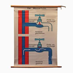 Vintage Wasserhahn Lehrtafel von Sener