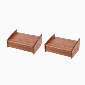 Rosewood Wall Mounted Beside Tables, 1950s, Set of 2