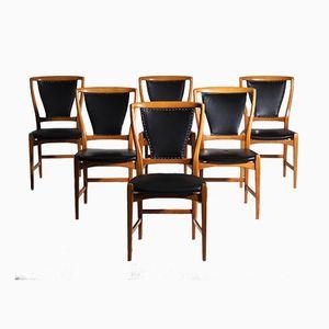 Skandinavische Esszimmerstühle aus Obstbaumholz & Kunstleder, 1960er, 6er Set
