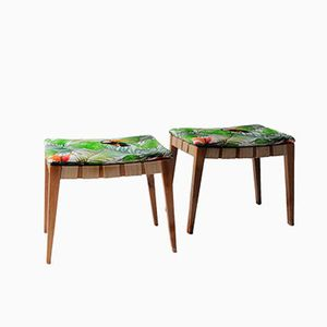 Vintage Footstools with Tropical Upholstery, Set of 2