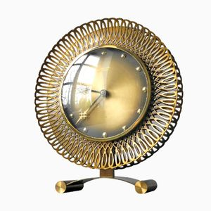 Large Brass Sunburst Table Clock from Atlanta Univers, 1960s
