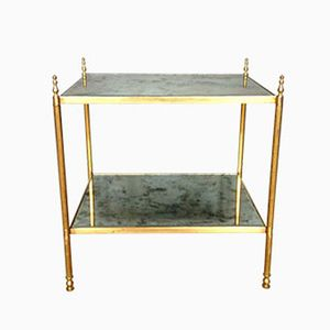 French Brass Side Table with Verre Eglomisé