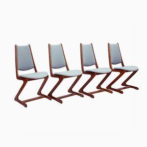 Vintage Zigzag Teak Dining Chairs, Set of 4
