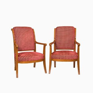 French Directoire Period Mahogany Armchairs, 1800s, Set of 2
