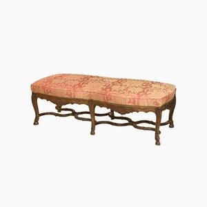 Große Antike Französische Nussholz Sitzbank im Regency Stil