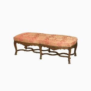 Large Antique Regency Style Carved French Walnut Bench