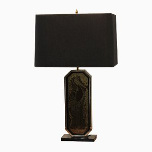 23 ct Goldplated Handmade Etched Table Lamp by Georges Mathias for M2000 Design, 1970s