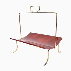 Italian Goatskin and Lacquered Metal Magazine Rack by Aldo Tura, 1950s