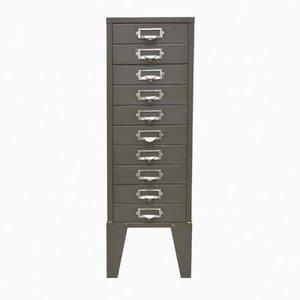 Mid-Century British Ten Drawer Industrial Metal Cabinet, 1960s