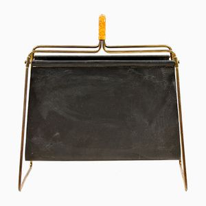 Vintage Brass and Leather Magazine Rack from Illums Bolighus