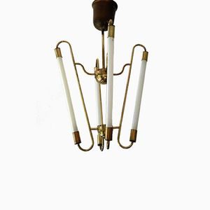 Mid-Century Brass Ceiling Neon Lamp
