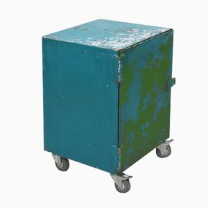 Mid-Century Retro British Blue and Green Industrial Metal Cabinet, 1960s
