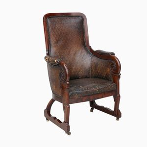 French Antique Leather and Mahogany Library Armchair, 1860s