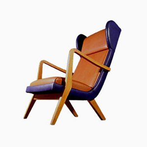 Italian Brown and Blue Leather Armchair