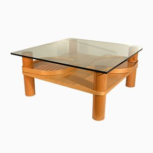 Italian Maple and Glass Coffee Table