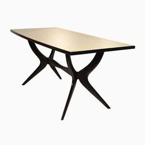 Italian Black Lacquered Dining Table