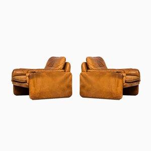 Cognac Leder Easy Chairs von De Sede, 2er Set