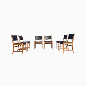 Danish Teak and Leather Dining Chairs by Kai Lyngfeldt Larsen, Set of 6
