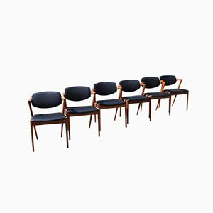 Mid-Century No. 42 Dining Chairs by Kai Kristiansen for Schou Andersen, Set of 6