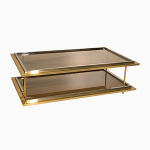 Vintage Italian Glass & Brass Coffee Table, 1970s