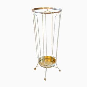 White Italian Iron & Brass Umbrella Stand, 1950s