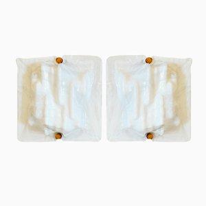 Mid-Century Murano Glas Wandlampen von Toni Zuccheri für Venini, 2er Set