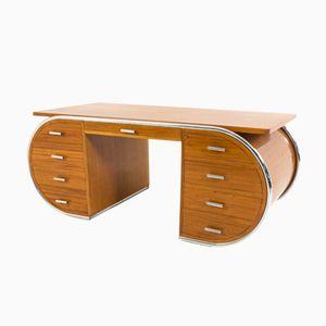 French Art Deco Mahogany Desk, 1930s